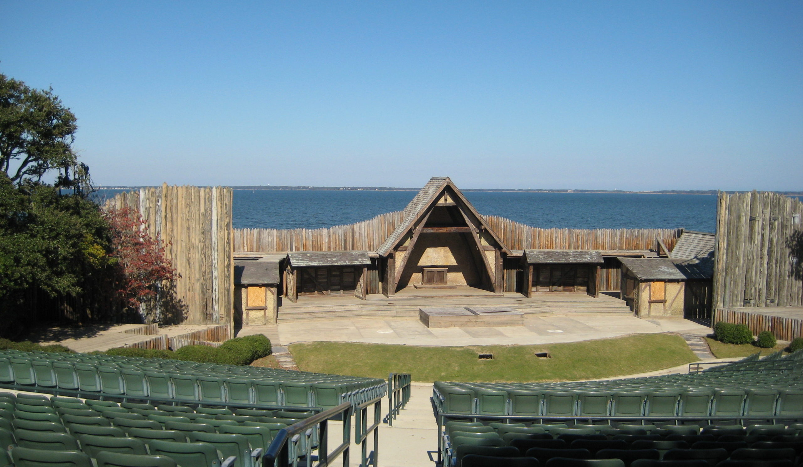 Waterside Theater at Fort Raleigh National Historic Site on sunny day with sound view in background