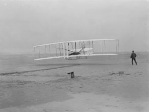 Orville and Wilbur Wright complete the first successful heavier-than-air powered flight of 12 seconds on December 17, 1903 in Kill Devil Hills.